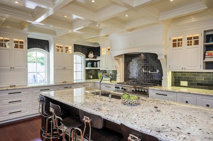White Ice Granite In A High Contrast Kitchen Chicago Super White Countertops,  IL